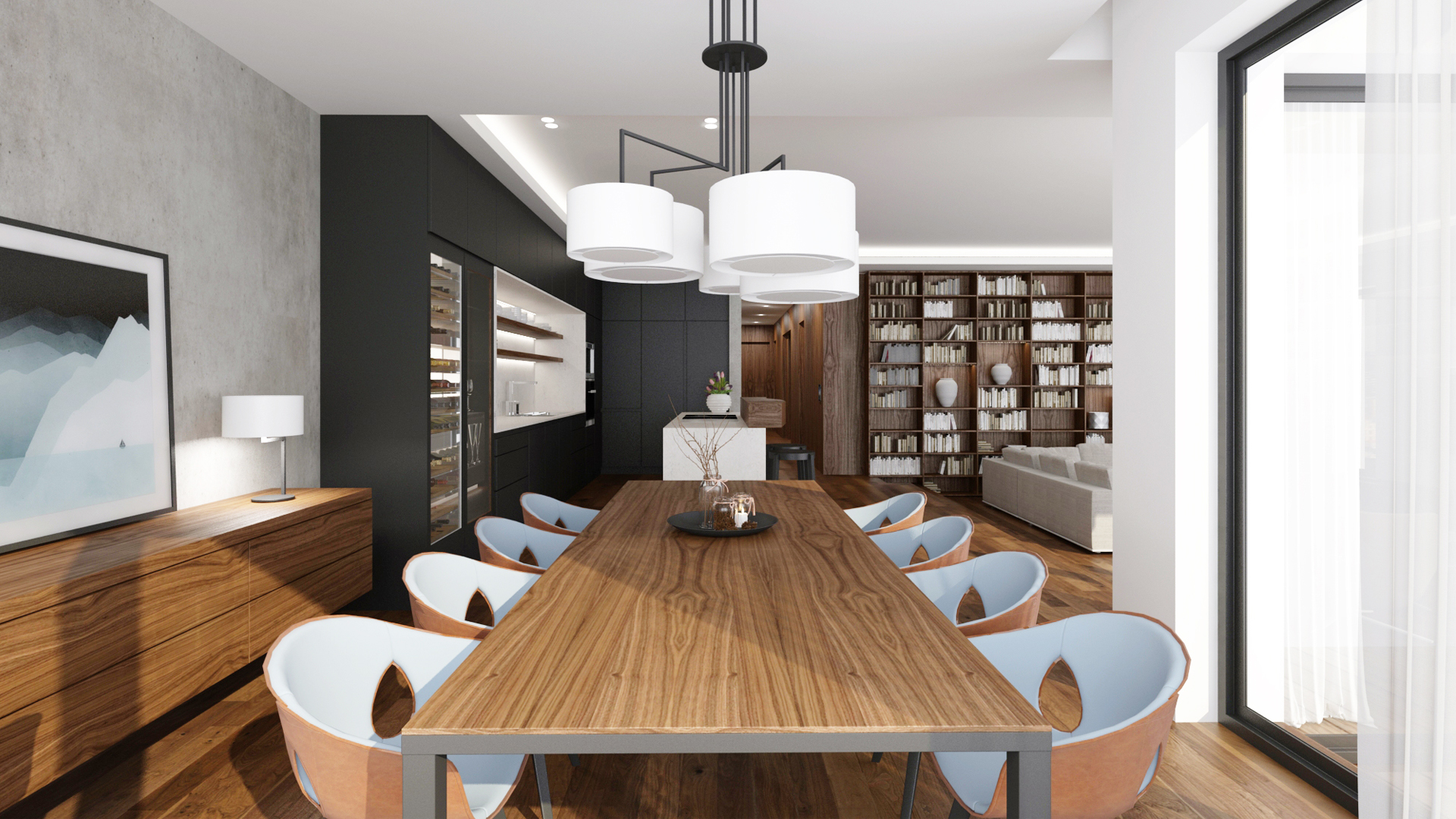 navrh jedalne, navrh kuchyne, navrh interieru kuchyne, navrh interieru, dizajn interieru, interierovy dizajner, interierovy dizajn, zeitraum light, noon light, dining room, kitchen design, interior design, poltrona chair, ginger chair, ginger armchair, interior designer, neolith carrara, noon table light, penthouse design, walnut penthouse interior
