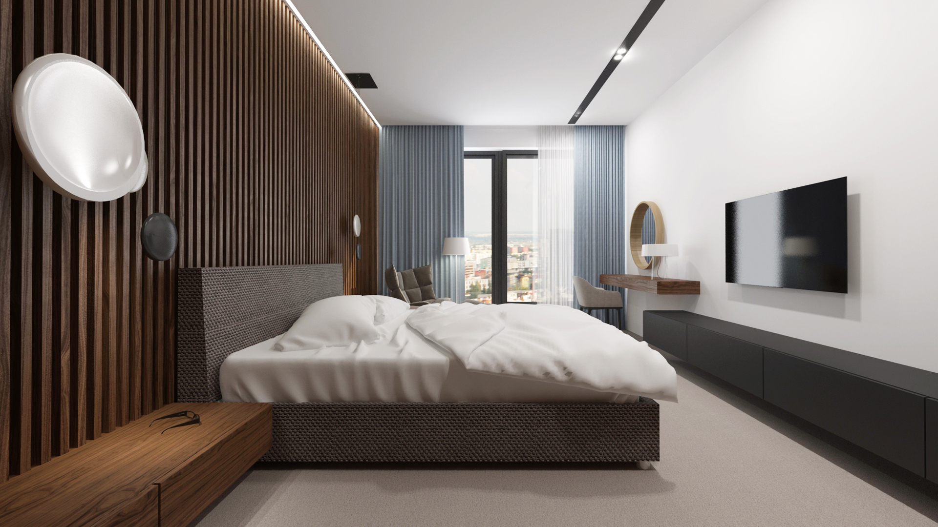 navrh interieru spalne, navrh spalne, interier spalne, interierovy dizajn, interierovy dizajner, veronika paluchova, bedroom design, walnut design, orech, dyha, design room, flexteam bed, walnut interior, walnut penthouse interior, penthouse design, penthouse interior design, vibia light,