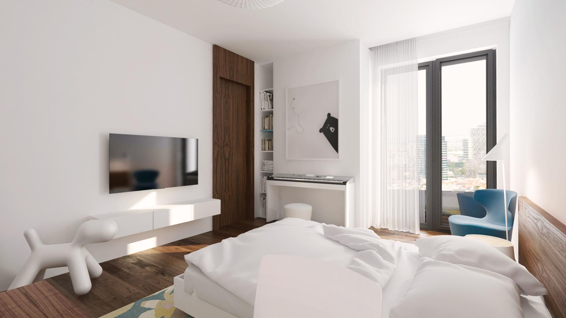 navrh interieru spalne, navrh spalne, interier spalne, interierovy dizajn, interierovy dizajner, veronika paluchova, bedroom design, walnut design, orech, dyha, design room,