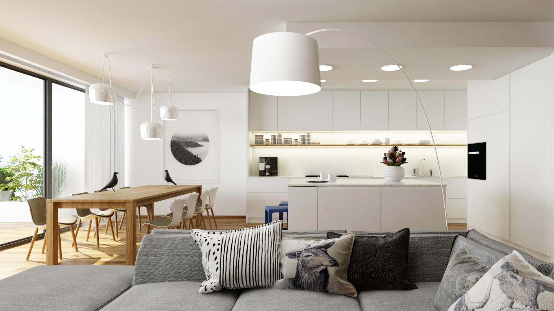 navrh bytu, interier bytu bratislava, navrh interieru bytu, navrh interieru jedalne, navrh interieru, navrh kuchyne, navrh interieru kuchyne, navrh jedalne, interierovy dizajn, interierovy dizajner, interior design, interior designer, veronika paluchova, flat design, deisgn bratislava, dub, prirodny dub, white flat, white kitchen, b&b chair, flos aim, flos light, foscarini light, vitra bird