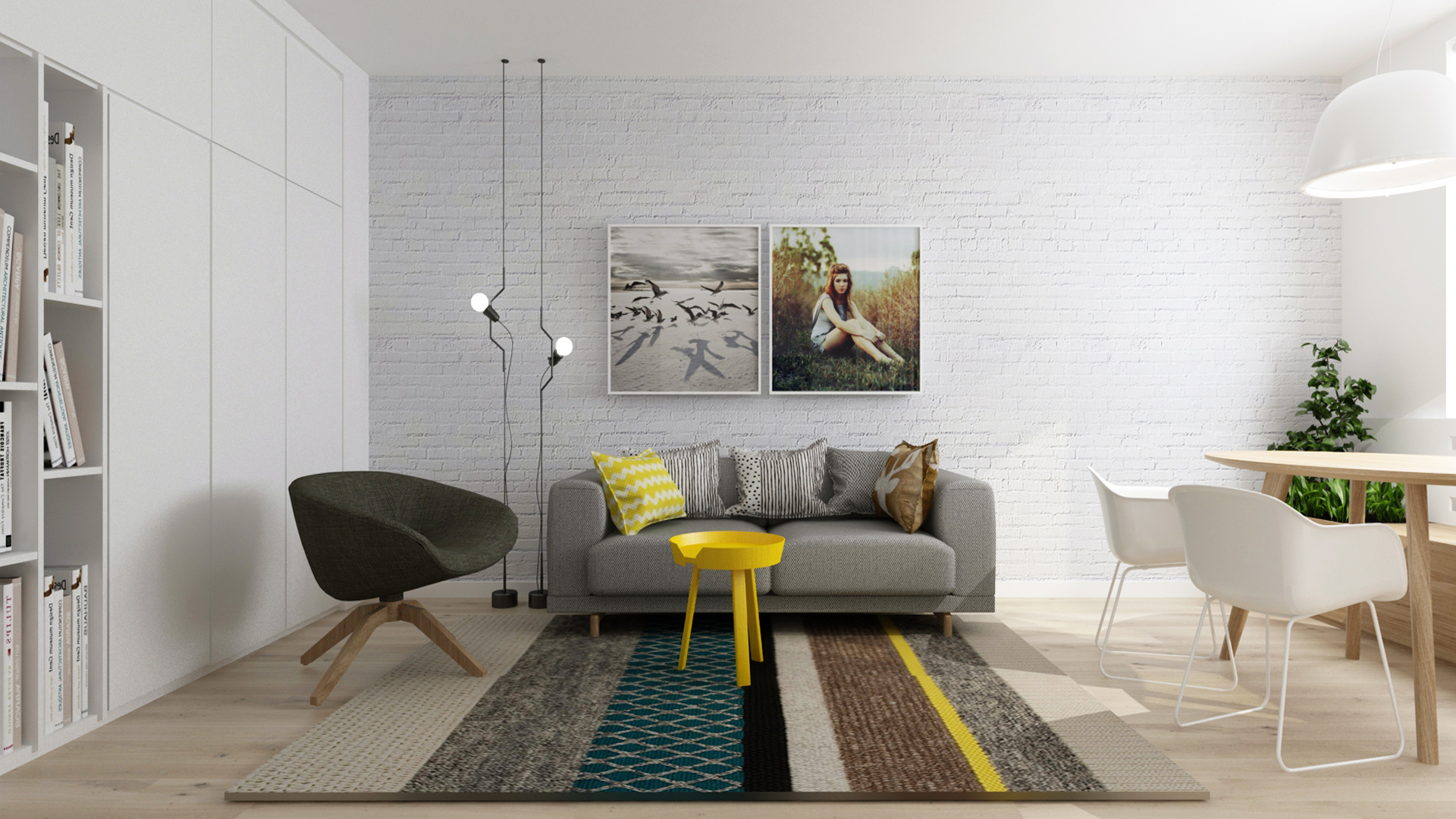 rekonstrukcia bytu, rekonstrukcia bytu bratislava, navrh interieru bytu, navrh interieru jedalne, navrh interieru, interierovy dizajn, interierovy dizajner, muuto, muuto sofa, muuto armchair, interior design, interior designer, veronika paluchova, flat design, reconstruction bratislava, dub, prirodny dub, white flat, foscarini light,