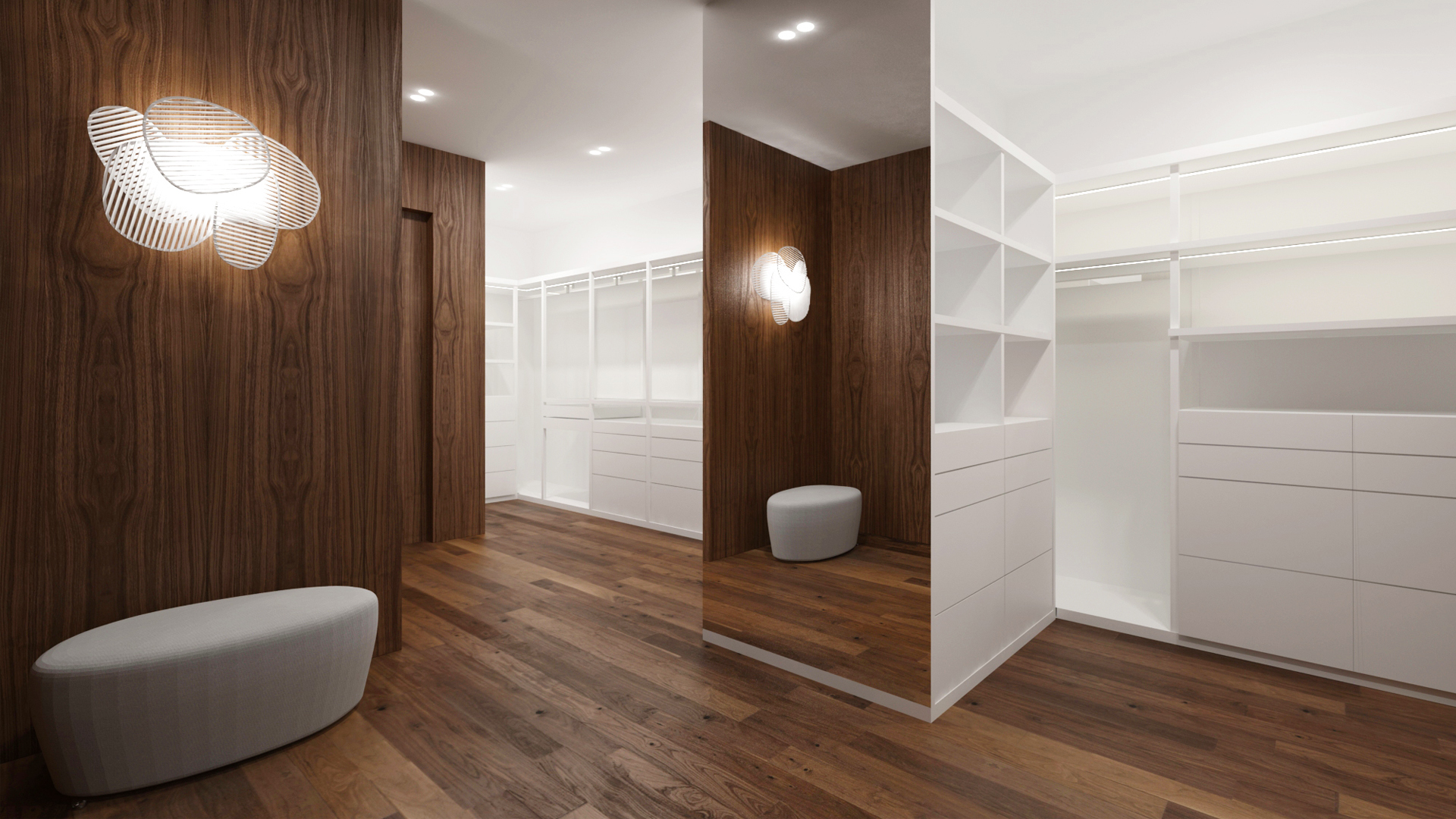 navrh interieru satnika, navrh satnika, interier satnika, interierovy dizajn, interierovy dizajner, veronika paluchova, wardrobe design, walnut design, orech, dyha, design room, foscarini light, walnut interior, walnut penthouse interior, penthouse design, penthouse interior design, moroso pouf