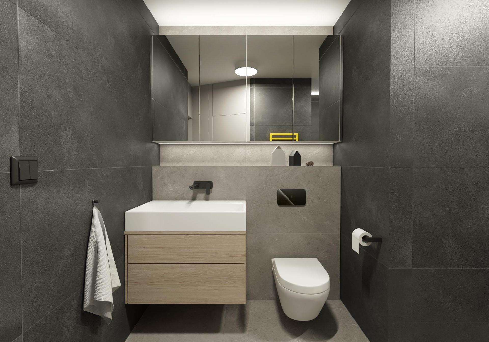rekonstrukcia bytu, rekonstrukcia bytu bratislava, navrh kupelne s wc, navrh interieru kupelne, interier kupelne, navrh interieru, bathroom design, interierovy dizajn, interierovy dizajner, veronika paluchova, grey interior, black interior, V&B tiles, aberdeen magma