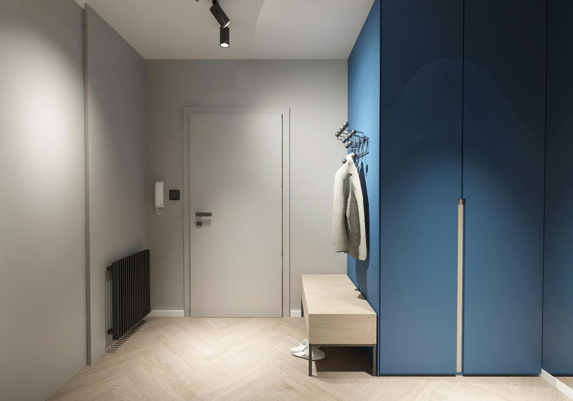 rekonstrukcia bytu, rekonstrukcia bytu bratislava, navrh vstupnej haly, navrh interieru, navrh vstupnej chodby, interierovy dizajn, interierovy dizajner, veronika paluchova, grey interior, black interior, blue, herringbone, oak parkett