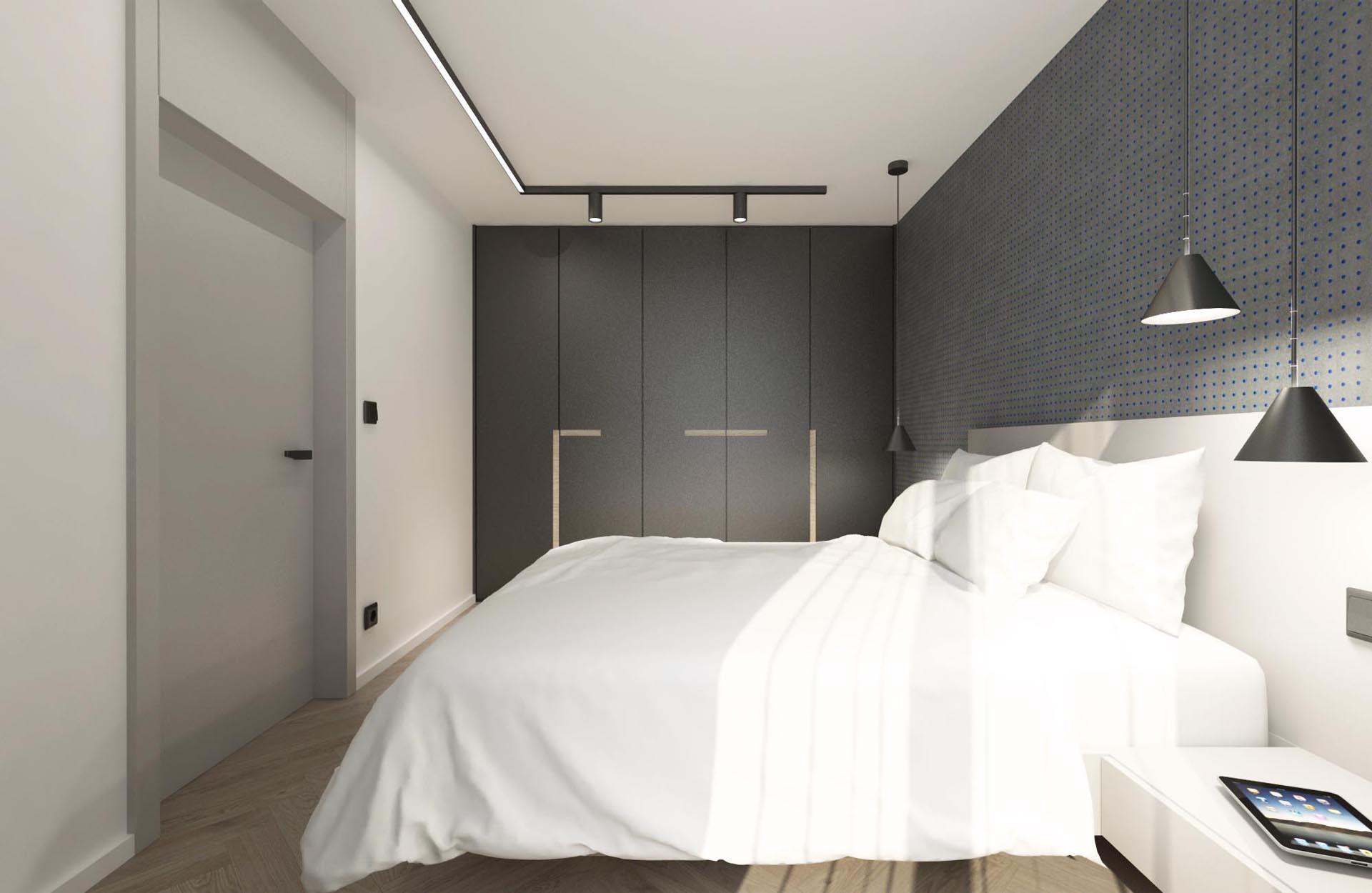 rekonstrukcia bytu, rekonstrukcia bytu bratislava, navrh spalne, navrh interieru spalne, interier spalne, navrh interieru, bedroom design, interierovy dizajn, interierovy dizajner, veronika paluchova, grey interior, black interior, lecorbusier,