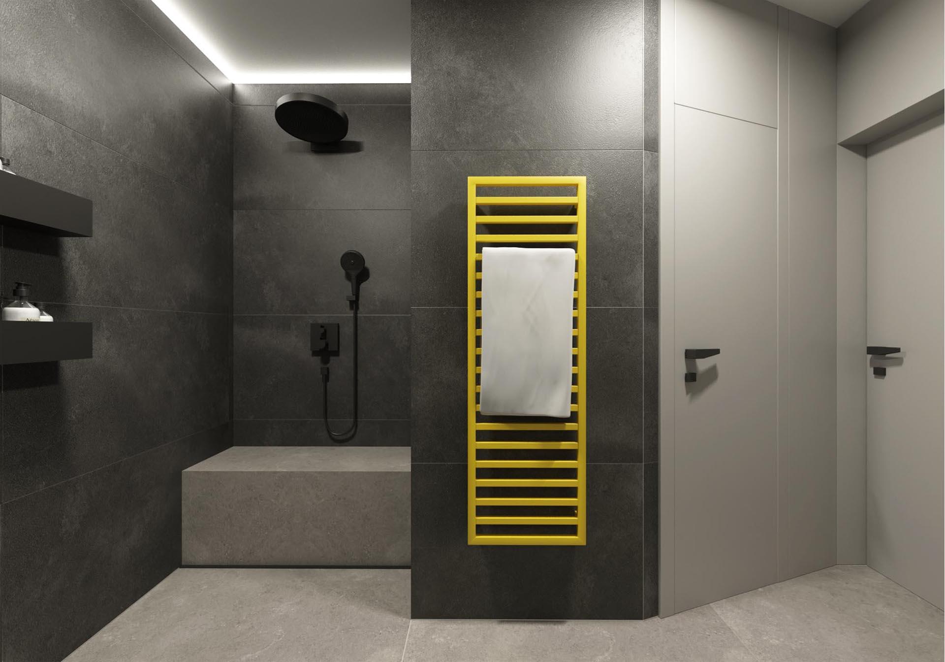 rekonstrukcia bytu, rekonstrukcia bytu bratislava, navrh kupelne s wc, navrh interieru kupelne, interier kupelne, navrh interieru, bathroom design, interierovy dizajn, interierovy dizajner, veronika paluchova, grey interior, black interior, yellow tovel, V&B tiles, aberdeen magma
